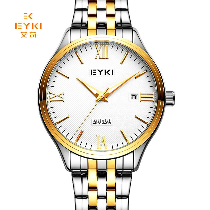 EYKI Top Brand Men Stainless Steel Skeleton Mechanical Watches Male Self-wind Automatic Wrist Watch Waterproof Relogio Masculino