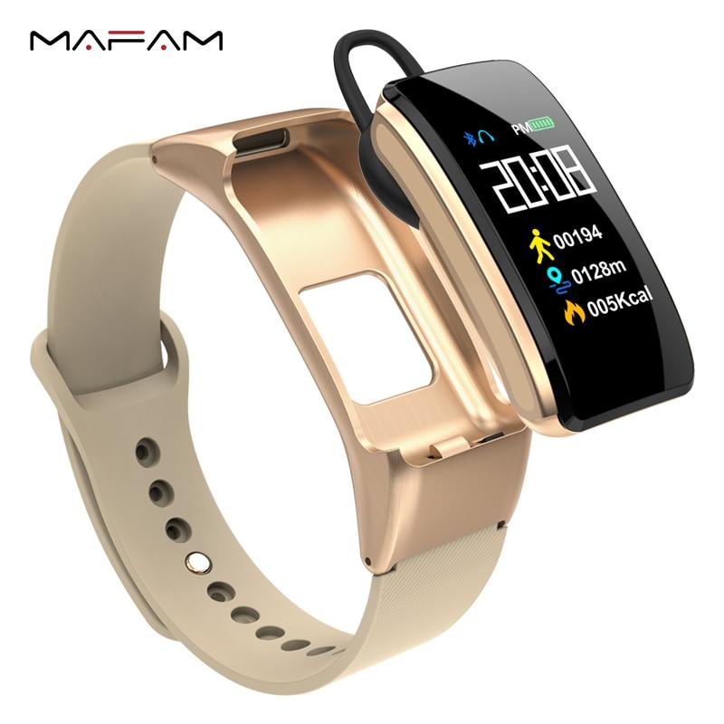 MAFAM B31 умные разговоры браслет Фитнес трекер монитор сердечного ритма Bluetooth наушники смарт-браслет для IOS Android