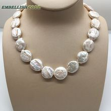 18mm Bead Unusual Baroque Choker Statement Necklace White Color Round Coin Flat Shape Natural Freshwater Pearls Fold Face 58cm