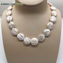 Collana con dichiarazione girocollo barocco raro perlina 18mm colore bianco moneta rotonda forma piatta perle dacqua dolce naturali piega faccia 58cm