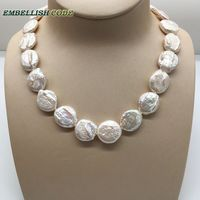 unusual baroque pearl choker statement necklace white color round coin flat shape natural freshwater pearls fold face 50cm 58cm