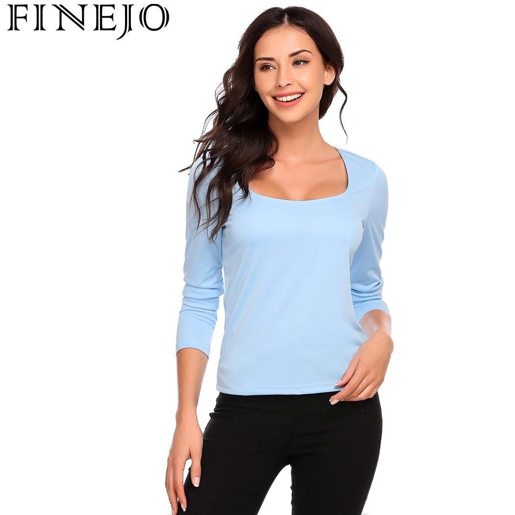 FINEJO Femmes Casual Col Carré T-shirts À Manches Longues Solide Mince Pull Sexy T-shirt Tops Automne Hiver T-shirt 2017 Nouveau