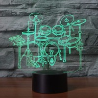 3D LED Rack Drum Set Modelling NightLight 7 Colors Desk Lamp Home Decor Musical Instruments Bedside