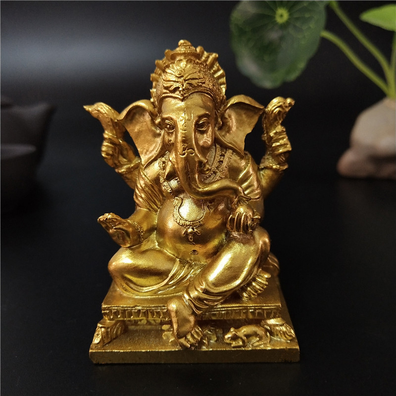 Lord Ganesha Buddha Statue Home Decoration Accessories Golden Ganesh Elephant God Sculpture Figurines Ornaments Buddha Statues