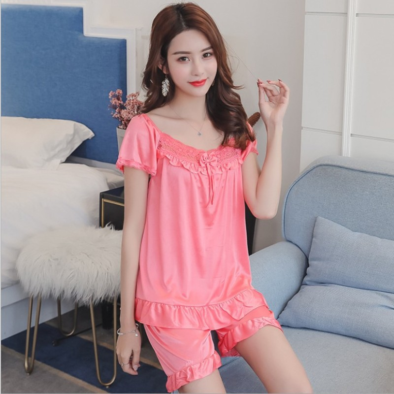 Factory Wholesale Spring Summer Women Pajamas Set Short Sleeve Nightgown Cartoon Printed Cute Sleepwear Suit Girl Pijamas Mujer