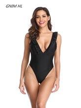 2019 New One Piece Swimsuit Women Solid Black Swimwear Halter Bathing Suit Sexy Brazilian Biquini Ruffle Female
