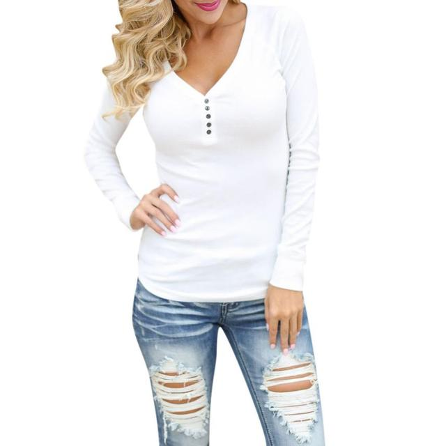 86fe99b2ff33 FEITONG Sales Fashion Women Blouse Casual Long Sleeve V Neck Button Tops  Solid White Black Blusas *20