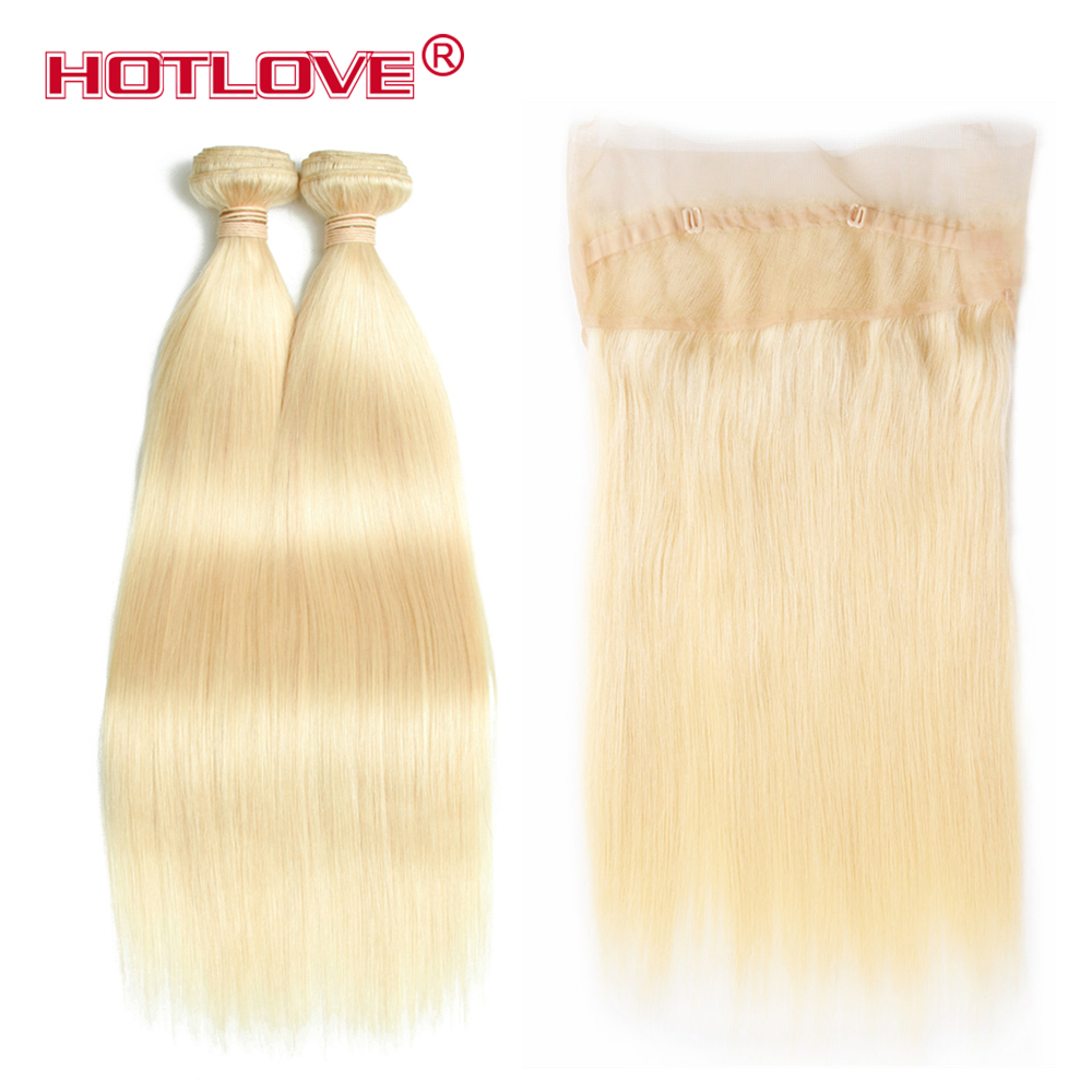 Hotlove 360 Lace Frontal with Bundle Pre Plucked 613 Blonde Color Brazilian Straight Remy Human Hair 4 Bundles with Closure