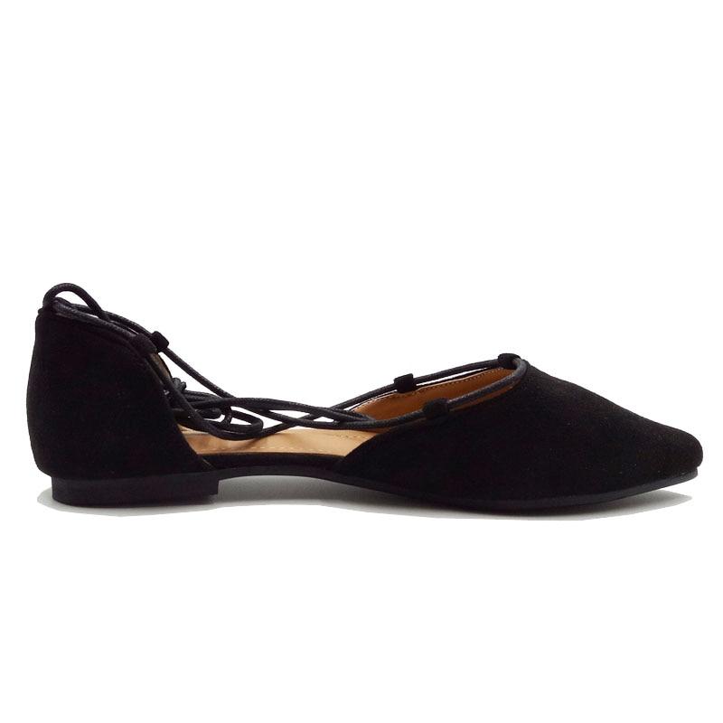a832d68c92953 US $26.99  Anikasari 2017 Neue Schuhe Frau Spitz Frauen Wohnungen Fashion  Lace up ballerinas Damen Schuhe Plus Größe 40 43 zapatos mujer in ...