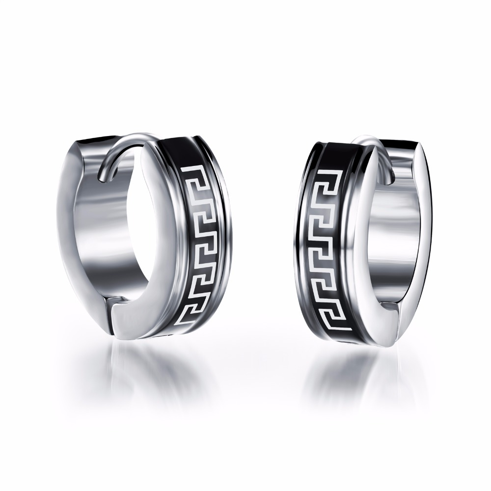 Hypoallergenic Stainless Steel Men Jewelry Huggie Earrings Great Wall Men's  Stud Earrings Jewelry(china (