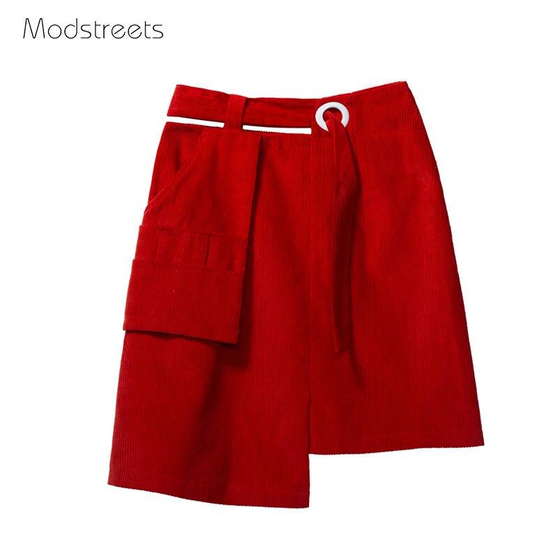 Modstreets 2017 Autumn&Winter Street Style Short Skirt Women Wine Red High Waist Kilt Girls All Match A-Line Knee-length Skirts