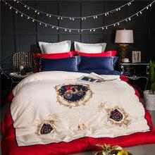 Роскошный Европейский Стиль Королевский вышивки 60 s из египетского хлопка Постельное белье Набор пододеяльников для пуховых одеял постельное белье лист наволочки 4/6/ 8 шт.