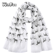 Winfox Spring Summer Pink Black Dog Scarf for Women Long Shawl Female Wraps Foulard Hijabs Soft Beach Stoles