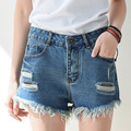 New Summer Women Fashion Female Cotton Blue Hole Wear White Washed Denim Shorts Short Jeans Femme