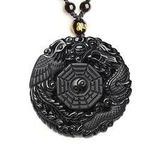 Черный обсидиан резьба Дракон и ожерелье с Фениксом кулон обсидиан счастливые подвески