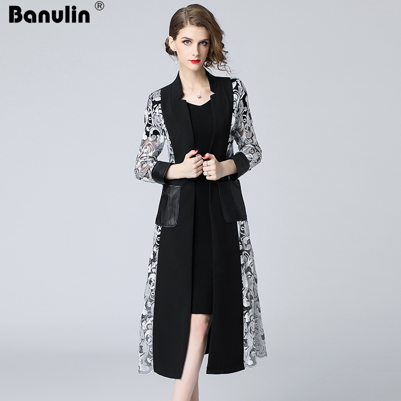 Banulin Runway Spring Autumn Vintage Women Long   Trench   Coat Graceful Floral Embroidery Cadigan Spliced Patchwork Party   Trench