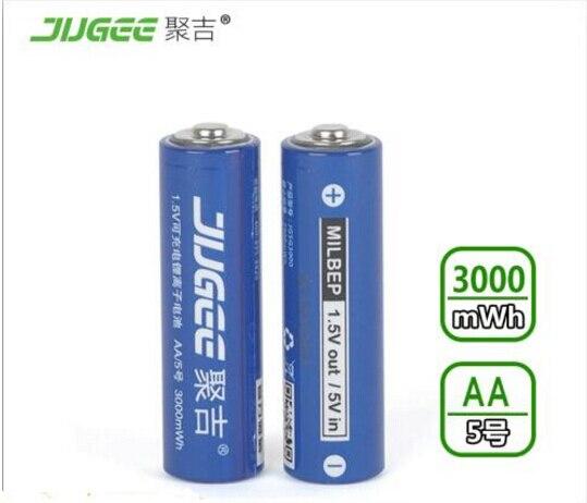 2 stücke 1,5 v AA lifepo4 lithium-ionen batterien 14500 JUGEE 3000mWh wiederaufladbare li-polymer Li-Po batterie gelten Spielzeug, etc