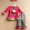 Rare editions 1-3 Years Baby Girl Spring Red Roses T shirt and Zebra Pants 2 Pieces Fall Suit Free shipping 7 Sets/lot