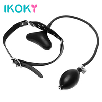 IKOKY Oral Fixation Inflatable Sex Toys for Couples Mouth Gag PU Leather Band Erotic Products Restraints Flirting Mouth Stuffed