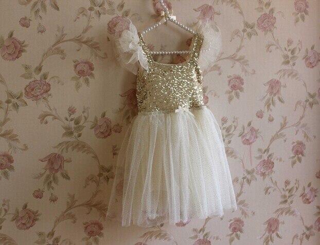 2017 children girls Princess dress gold sequins gauze dress kids Chiffon vell  for baby girls  new free shipping 5 pcs/lot
