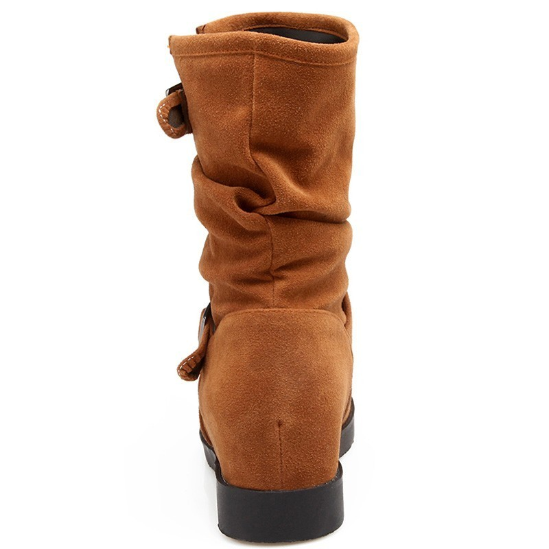 Buckle Design Ankle Boots Women Autumn Winter Ladies Height Increasing Low Heels A253 Woman Black Gray Green Boots Round Boots in Ankle Boots from Shoes