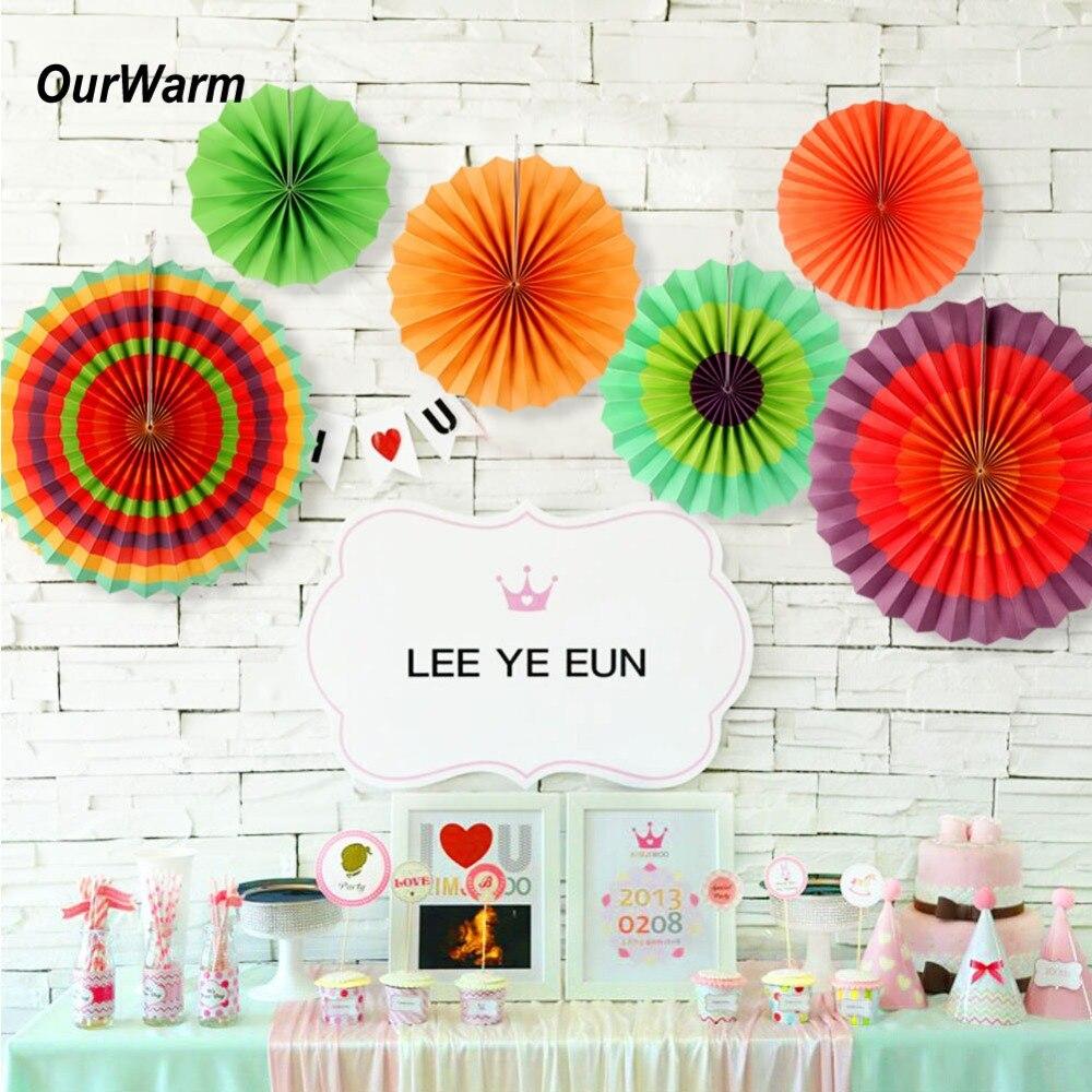 Ourwarm Paper Fans Mexican Fiesta Party Decorations Paper Fan
