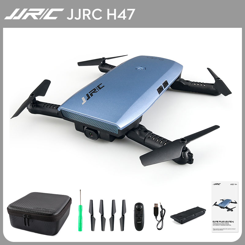JJRC H47 Selfie Mini Foldable Drone with HD Camera FPV G-sensor One-hand Control Controller Mode Aerobatic Flight Quadcopter global drone foldable selfie drone wifi phone control fpv folding mini tumbler remote control full protection frame with hd cam
