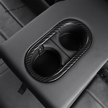 Yimaautotrims Rear Seat Water Cup Holder Decoration Cover Trim Fit For Volkswagen T-Roc T Roc 2018 2019 Matte Carbon Fiber ABS roc max resurfacing