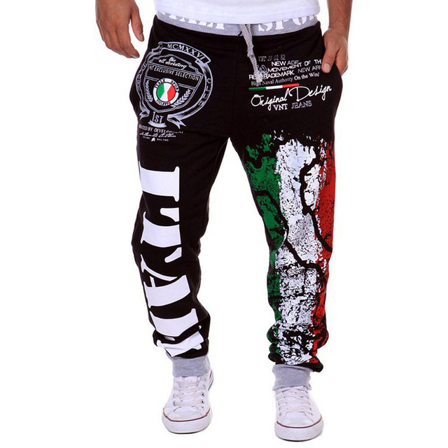 Fashion Men Pants Plus Size Italy Flag Painted Casual Sweatpants Comfortable Cotton Long Pants Hip Hop Drawstring Trousers  LB