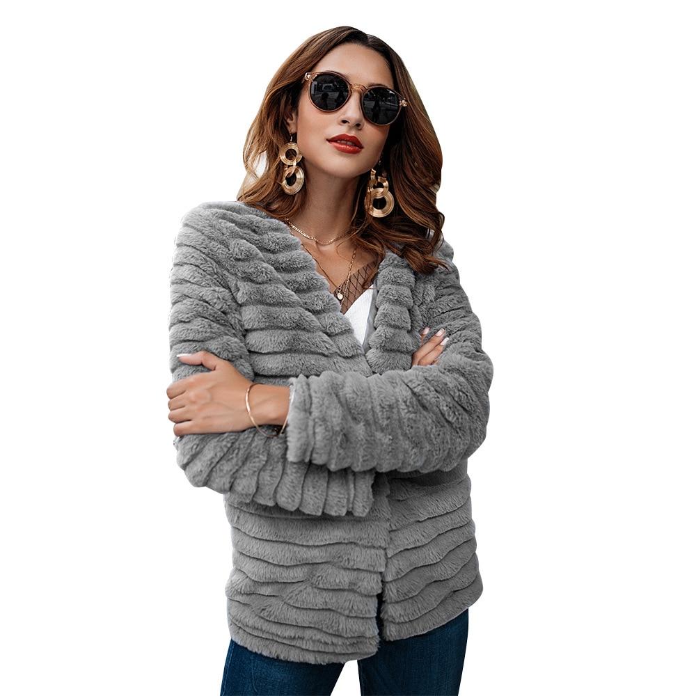Informal Mujer 2018 Chaqueta Otoño Gray Moda Abrigo Para Chifave Invierno  Elegante Gris Piel Conejo Abrigada ... 219c896220d7