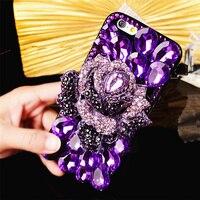럭셔리 패션 소녀 레이디 여성 3D 다이아몬드 꽃 블링 반짝이 피부 전화 위로 커버