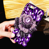 Luxury Fashion Girl Lady Woman Style 3D Diamond Flowers Bling Glitter Skin Phone Back Cover Case