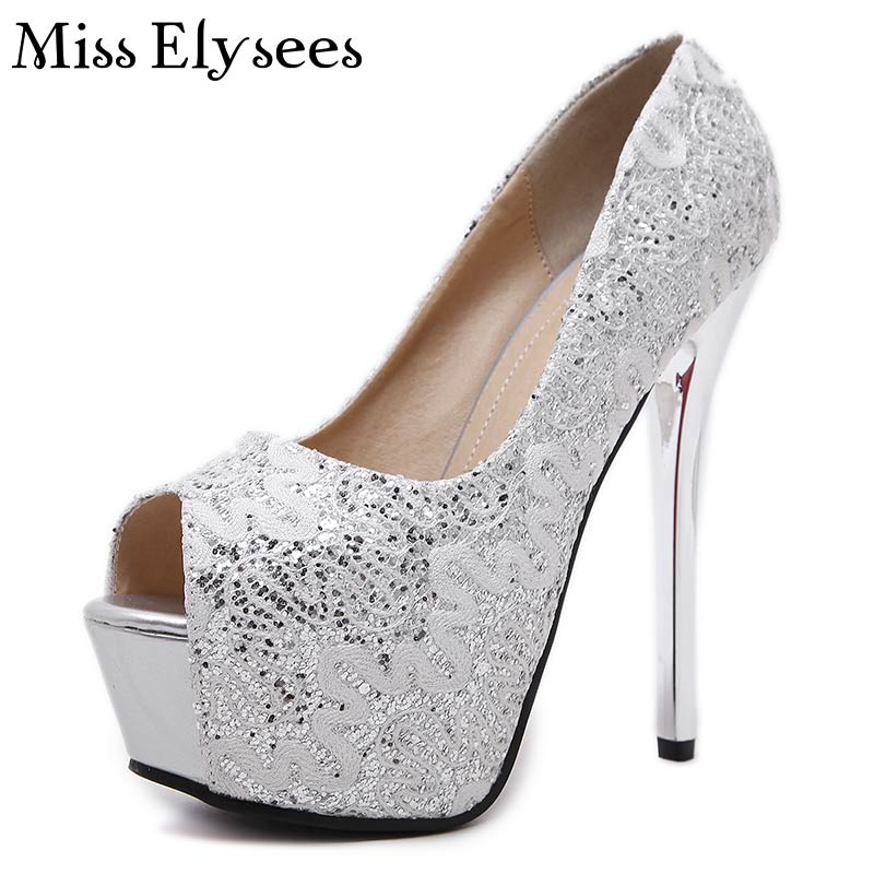 14cm High Heels Platform Pumps Open Toes Womens Shoes Spring Lace Design Solid Color Bling Sexy Thin Heels Shoes Woman 2017