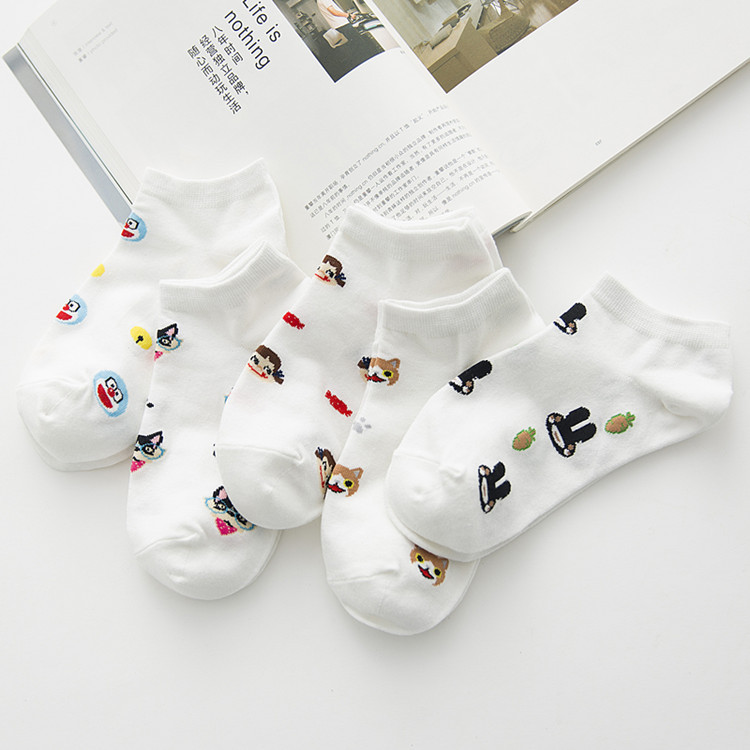 10 pieces = 5 pairs Korea style cartoon small pure and fresh and lovely summer cotton female sock slippers nice women socks