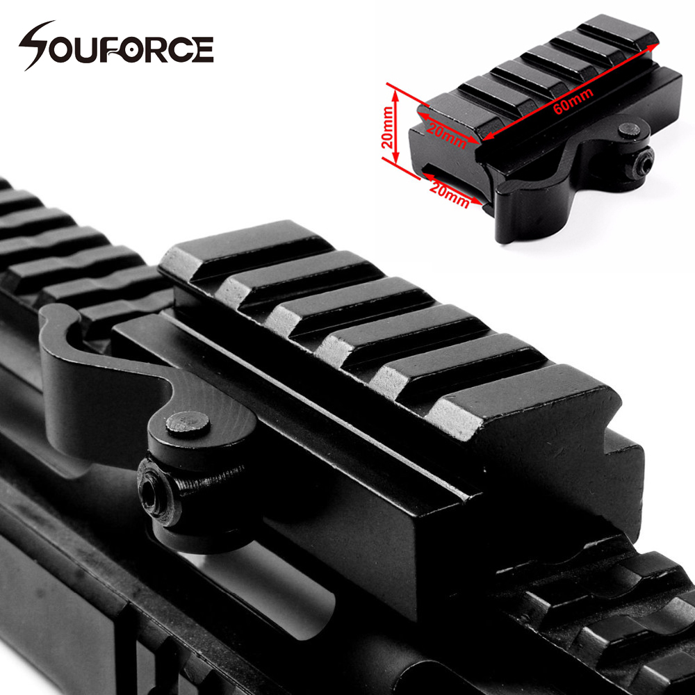 High Quality Aluminum Quick Release Mount Adapter 5 Slots Fit 20mm Picatinny Weaver Rail Base Hunting Gun AccessoriesHigh Quality Aluminum Quick Release Mount Adapter 5 Slots Fit 20mm Picatinny Weaver Rail Base Hunting Gun Accessories