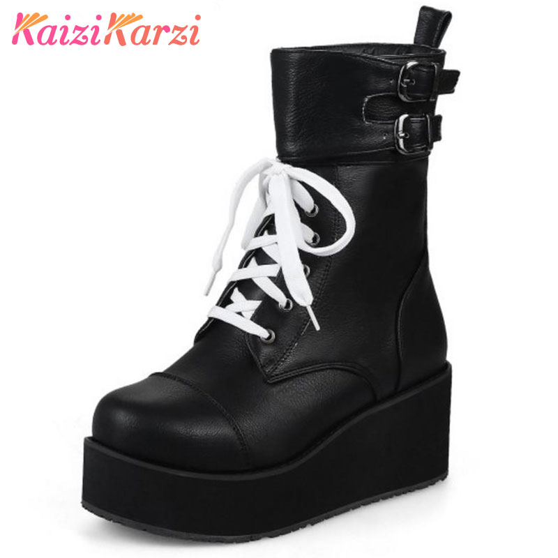KaiziKarzi Size 34-43 Women High Wedges Boots Cross Strap Mid Calf Boots Thick Fur Trifle Botas Warm Shoes Winter Footwears