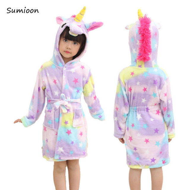 121619a66f Baby Animal Bathrobe For Boys Girls Unicorn Pattern Hooded Towel Beach Kids  Sleepwear Children Clothes Kids Pyjamas Nightgown