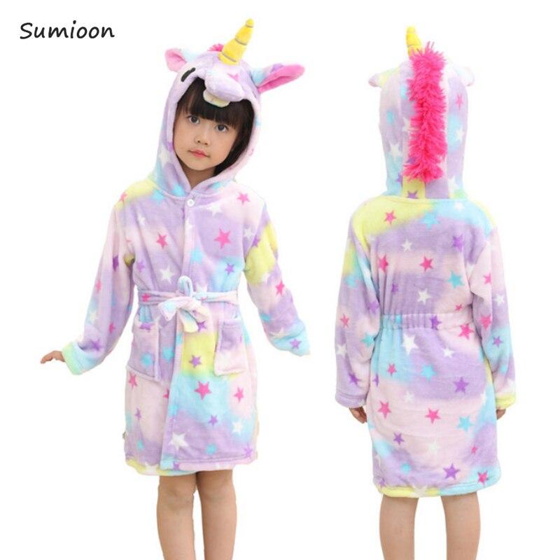 Baby Dier Badjas Voor Jongens Meisjes Eenhoorn Patroon Hooded Handdoek Strand Kinderen Nachtkleding Kinderen Kleding Kids Pyjama Nachthemd
