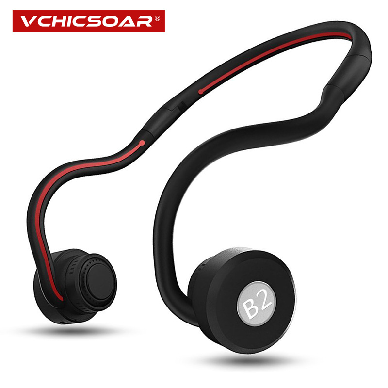 Vchicsoar B2 New Bone Conduction Bluetooth Headphones with Mic Sports Folding Wireless Headset Earphones HiFi Stereo Headphone picun p3 hifi headphones bluetooth v4 1 wireless sports earphones stereo with mic for apple ipod asus ipads nano airpods itouch4