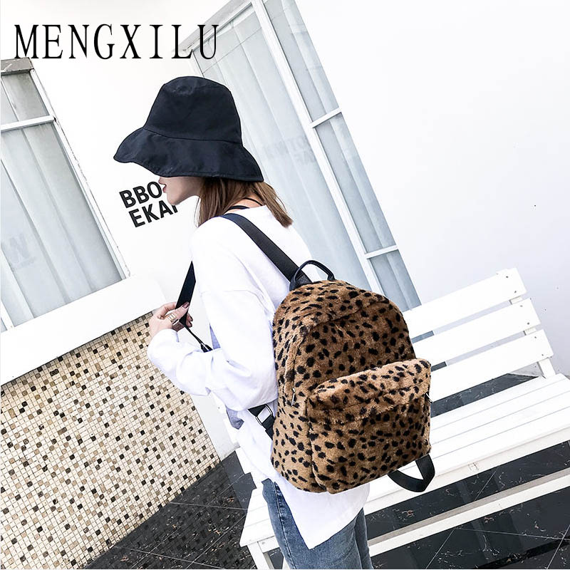 Fashion Winter Leopard Hot Sale Women Soft Plush Ladies Leopard Backpacks  Book Travel Bags Student School Shoulder Big Mochila