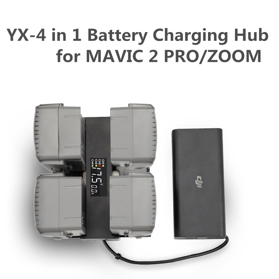 4 In 1 Mavic 2 Battery Charger Hub Smart Multi Battery Intelligent Charging Hub Digit LED Screen for DJI Mavic 2 Pro Zoom Access