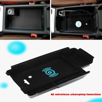 QI wireless charging box For audi A4 A5 2017 2018 Central Storage Pallet Armrest Container Box Cover Kit car Accessories LHD plastic accessories for peugeot 3008 3008gt 2017 car front inside car door storage pallet armrest container box cover kit trim