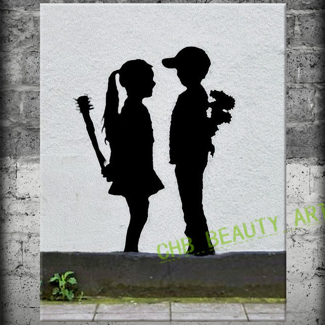 Banksy Art Love The Wrong People Canvas Painting Wall Pictures For Living Room Wall Art Decorative