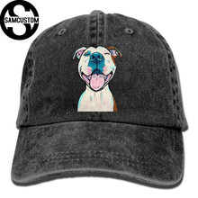 417abe6720f SAMCUSTOM pit bull 3D Creative personality Washed Denim Hats Autumn Summer  Men Women Golf Sunblock Hockey