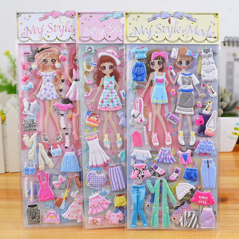 Bubble Stickers Paper Toys New Creative Fashion Cartoon Children 3 Months Bronzing Dress Up Princess Paste Is Gift Double-layer