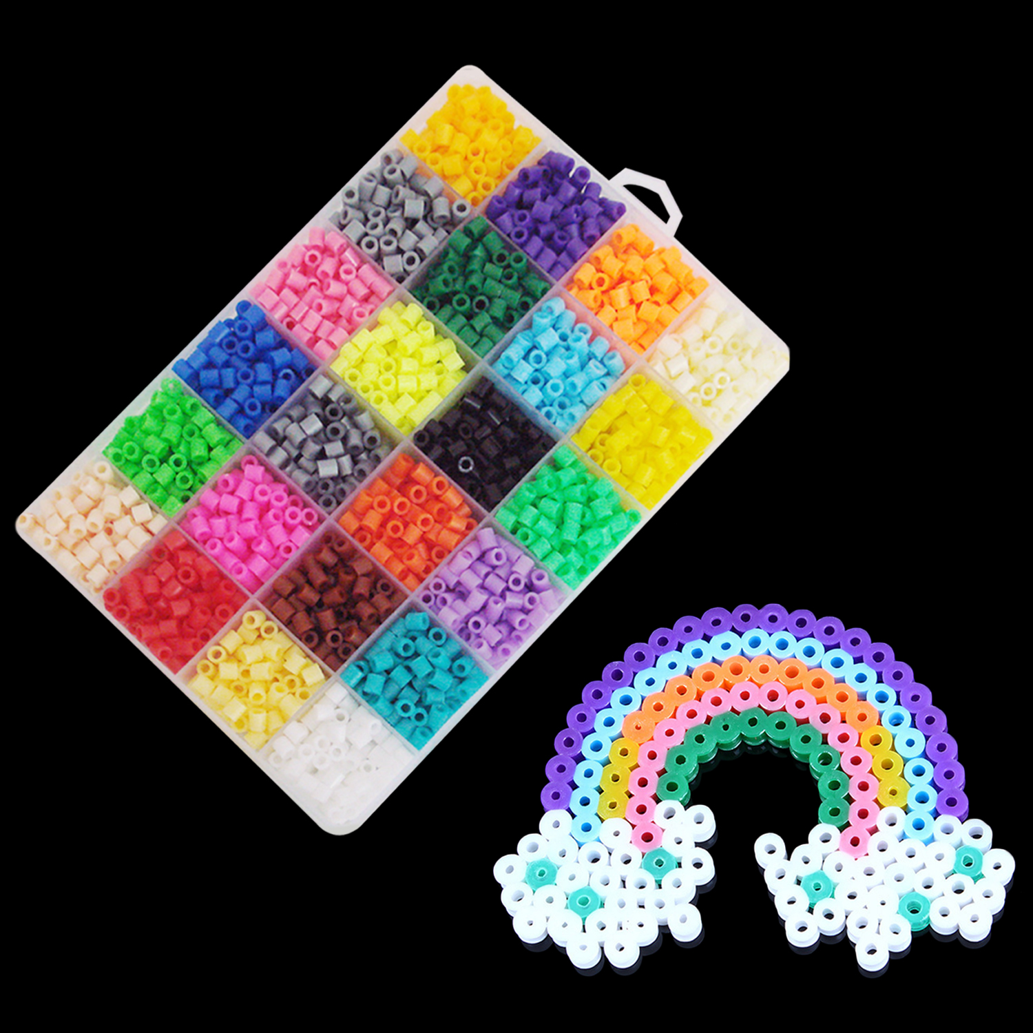 2400Pcs 24 Colors Fashion Ranbow Mini Fuse Beads Craft Beading Kit Toys Gifts Kids Adults DIY Handcraft Project Educational Toys