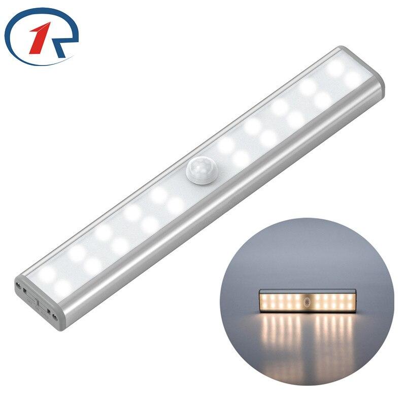 ZjRight PIR détecteur de mouvement LED Tube Rechargeable batterie alimentation barre de LED lumière placard lampe à LED chambre armoire cuisine placard