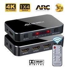 HDMI Switch 4×1 4 k 60 hz HD ARC TOSLINK Ótico De Áudio HDCP 2.2 para HDTV Xbox PS4 com ARC & IR Controle Para PS3 PS4 Apple TV HDTV