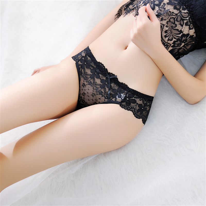 Lace Sexy Women Briefs Transparent Womens Panties Underwear Lingerie Female Breathable Seamless Panties Bow-knot Cute Underwear (3)