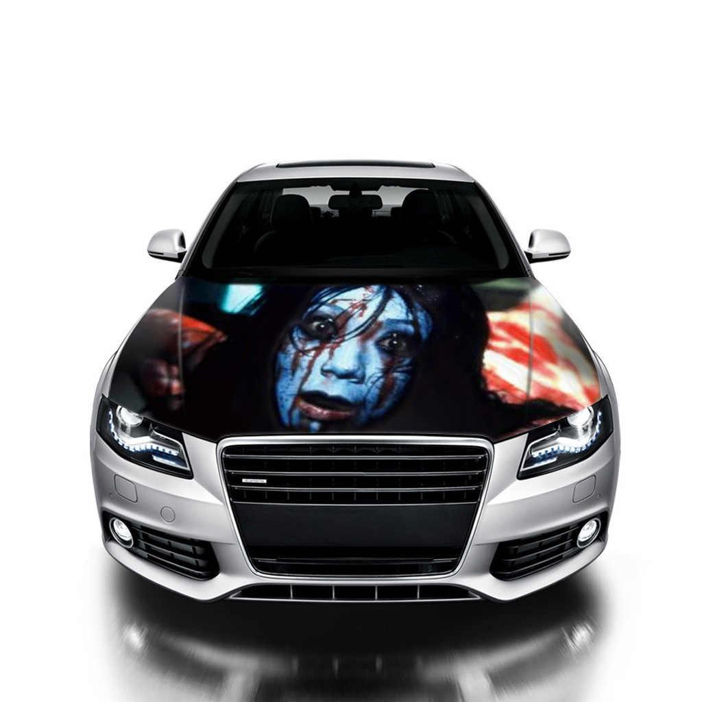 Car head hood sticker 3d ghost halloween diy decals day of the dead peaking woman room